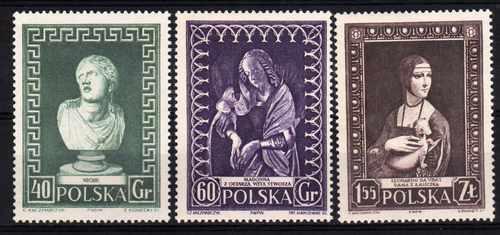 3 Estampillas De Polonia Tema Museos Año 1956