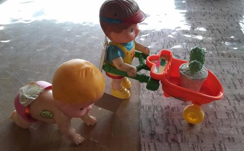 Lote Antiguo Juguetes Plasticos  A Cuerda Bebe Gatea + Niño