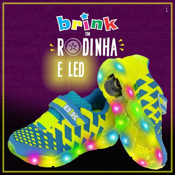 Tenis Brink Roller Turquesa/amarelo Com Led Colors E Rodinha