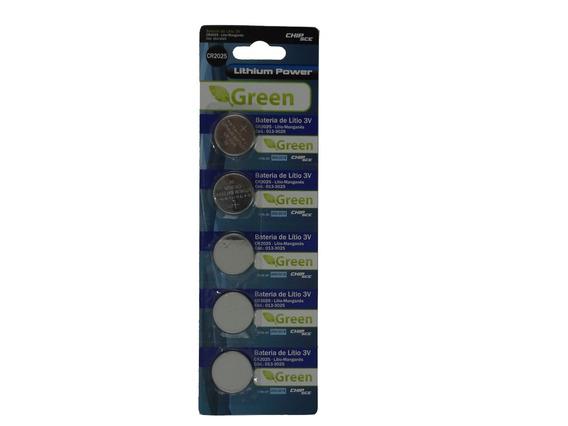 Bateria Lithium Manganês Green Cr2025 3v Cartela Com 5 Un