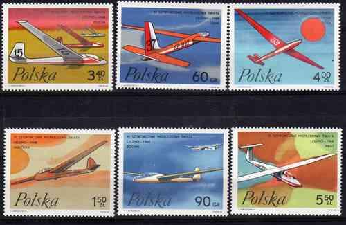 6 Estampillas De Polonia Tema Aviones Año 1968