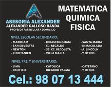Clases De Matemáticas A Domicilio, Profesor San Isidro Surco