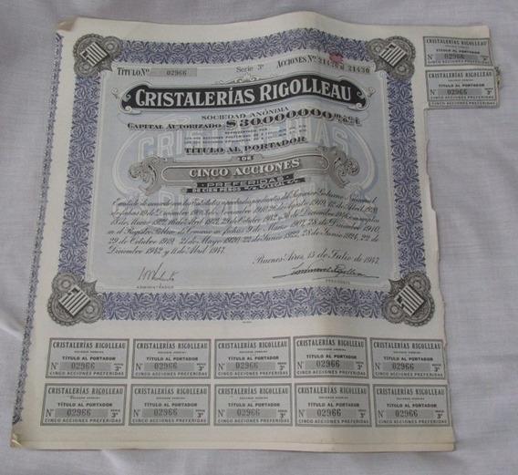 Antigua Plancha Acciones Cristalería Rigolleau 5x100, Gotech