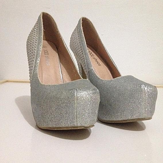 Sapato Feminino Salto Alto Semi Novo Importado Luxo Brilho