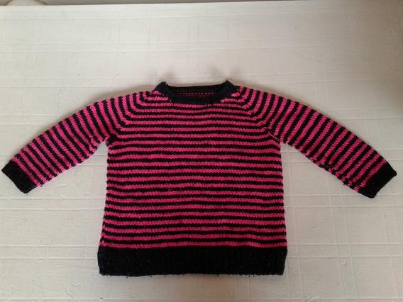 Sweter Tejido Mano Rallado Fuxia Y Negro Talle 3 Impecable!