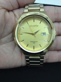 Relógio Masculino Pulso Dourado Atlantis Original Série Luxo