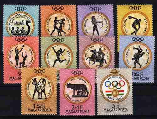 11 Estampillas De Hungria Juegos Olimpicos De Roma Año 1960