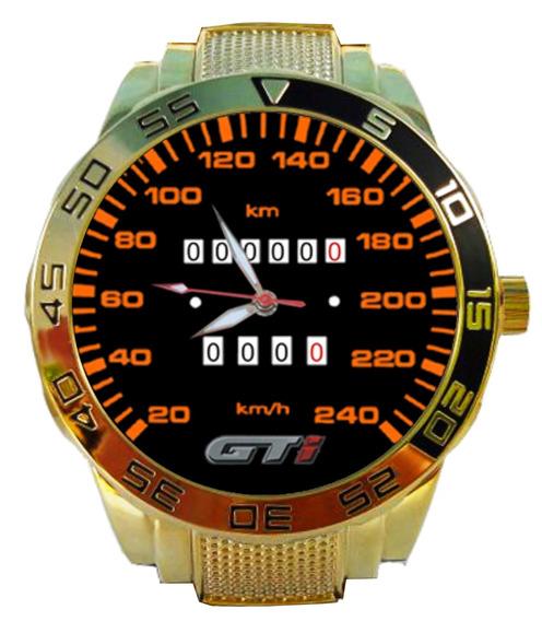 Relógio Personalizado Velocímetro Volkswagen Gol Gti Dourado