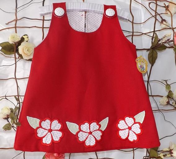 Vestido Modelo Trapézio, Bebe Com Aplicações De Flores