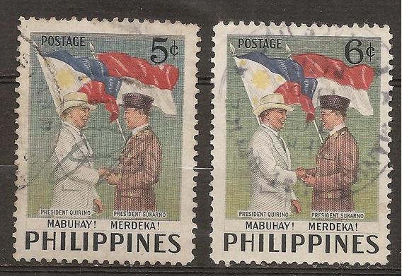 Filipinas Philippines Año 1953 Serie Yvert 412/3 Dos Valores