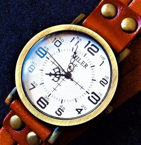 Relógio Pulseira Feminino Couro Terracota Vintage Sem Juros!