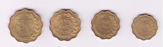 Paraguay 1953 Serie De 4 Monedas 10 15 25 Y 50 Centimos