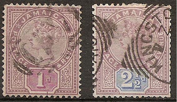 Jamaica Colonia Inglesa Muy Antiguas 2v. Año 1889