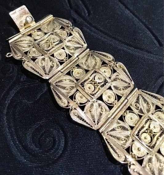 Pulseira Filigrana Prata Folheada Ouro Antiga 19x3,3cm
