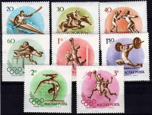 8 Estampillas Hungria Juegos Olimpicos Melbourne Año 1956