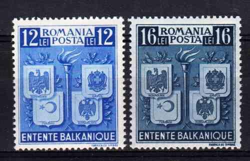 2 Estampillas Rumania Escudos Paises Balticos Año 1940