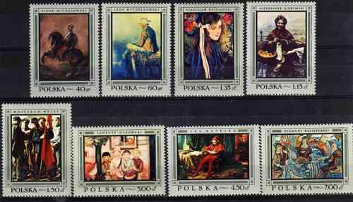 8 Estampillas De Polonia Tema Pintura Año 1968
