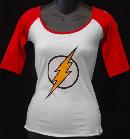 Blusa Raglan Dc Comics Logo De Flash Barry Hot Topic Marvel