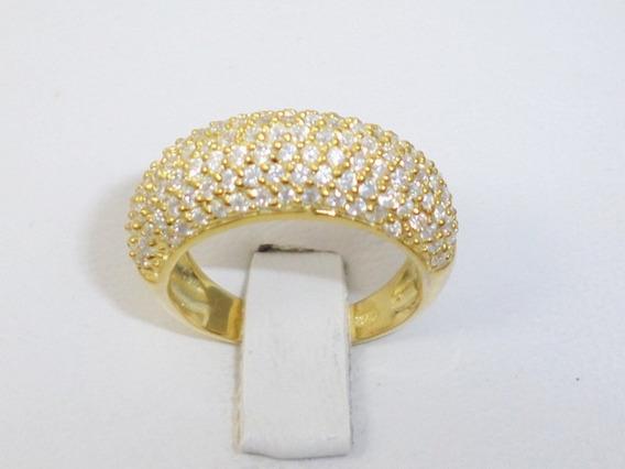 Litoraljoias2015 Anel Pavê 135 Zirconias Prata 925 Dourado