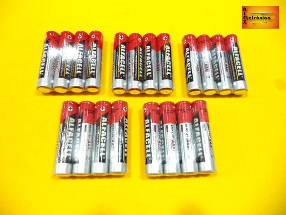 05 Pacotes Pilhas Palito R03p / 1,5v Aaa C/4 Unidades Cada