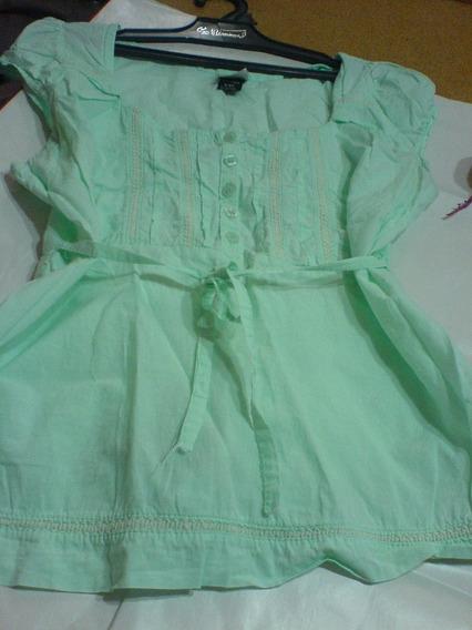 Camisola Verde Aquamarine En Lino Con Puntillas-excelente-