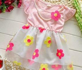 Vestido Importado Florido Coral - Rosa Claro