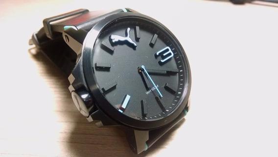 Relógio Puma Preto C/ Detalhes Em Azul - Semi-novo! Lindo!