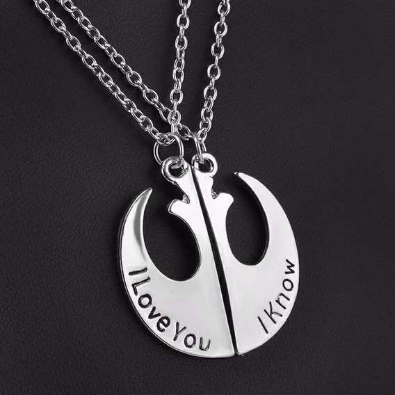 Colar Star Wars I Love You I Know Namorados Amigo Léia Hans