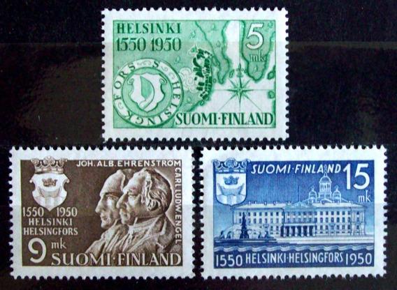 Finlandia, Serie Sc. 297-9 500 Años Helsinki 1950 Mint L6021