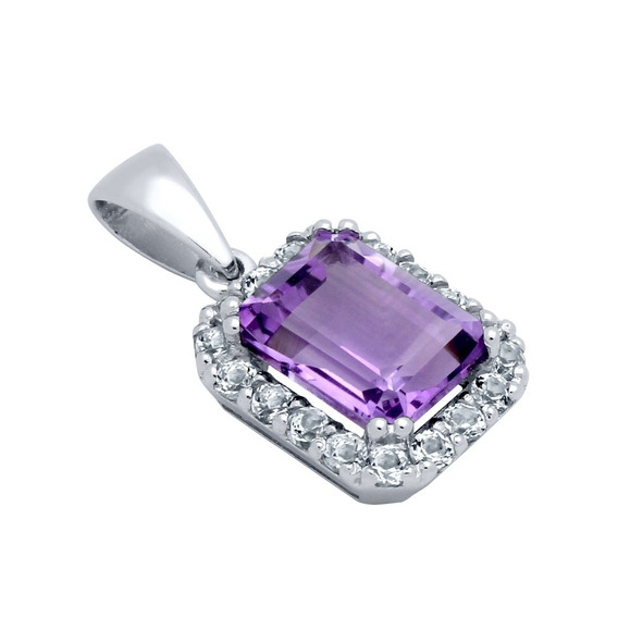 Emerald-cut Genuine Amethyst Pendant With Large White Topaz