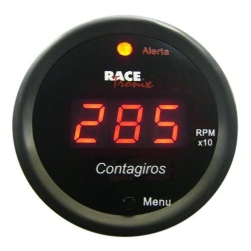 Contagiros Rpm Digital Luz Led Red Fundo Preto 52mm Tuning