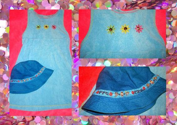 Vestido Y Gorra De Playa Azul Chicas Superpoderosa Para Nena