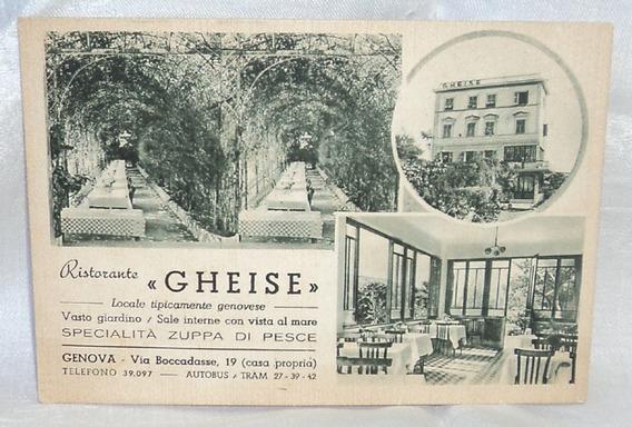Antigua Postal Ristorante Gheise Genova Italia