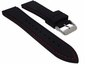 Pulseira Borracha Silicone 22mm Preta Costura Vermelha Macia