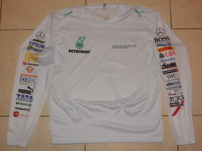 Playera Dry Fit Blanca Mercedes 2017 Manga Larga (2)