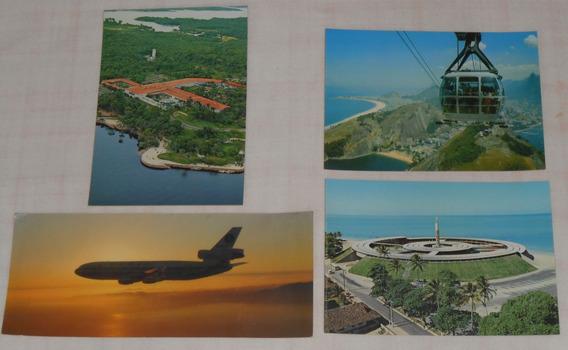 Cartão Postal Varig Lote1 C/4 Manaus Rio Janeiro Avião Dc-10
