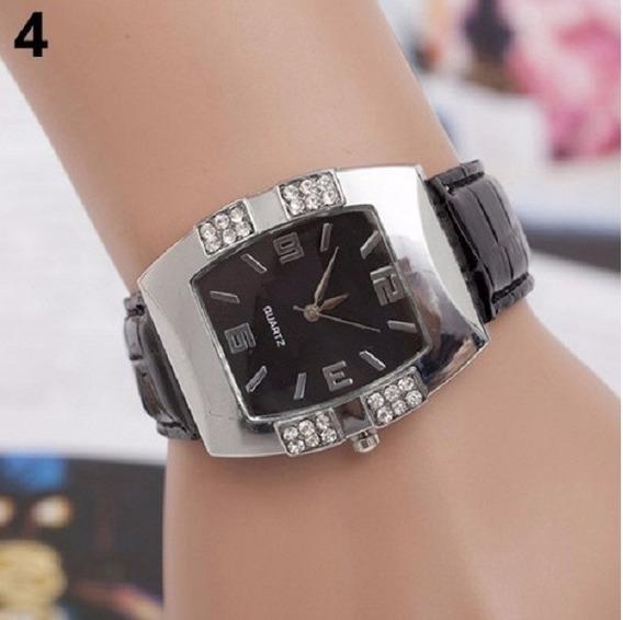 2 Relógios Feminino Prata Stass Couro 1 Branco E 1 Preto