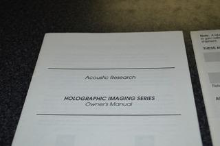 Manual De Bafles Acoustic Research Holographic Imaging Serie