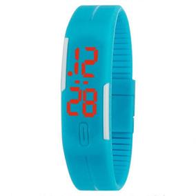 Relógio Azul Digital Slim Led Silicone Pulseira Borracha