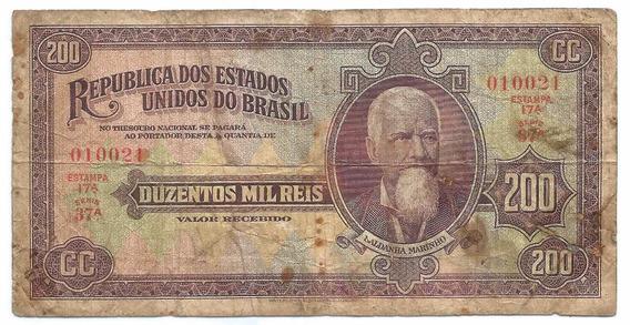 Brasil - R-153, 200 Mil Réis 1936, Autografada Série 37, Mbc