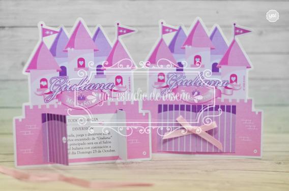 Tarjeta De Invitacion Princesas Castillo