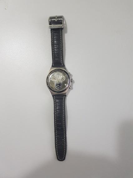 Swatch Relógio Suíço Cronógrafo Pulseira Couro!