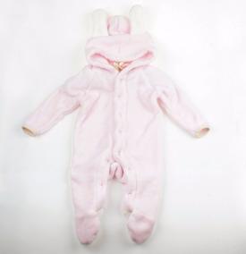 Macacão De Bebê Pelúcia Liso Com Capuz