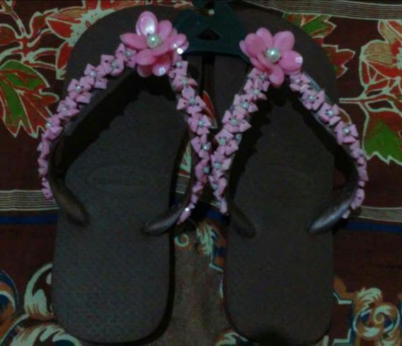 Havaianas Bordadas(pedras E Flores)