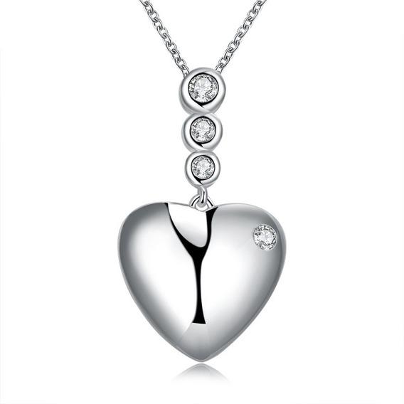 Colar Feminino Coração Ponto De Luz Banhado Em Prata Lindo