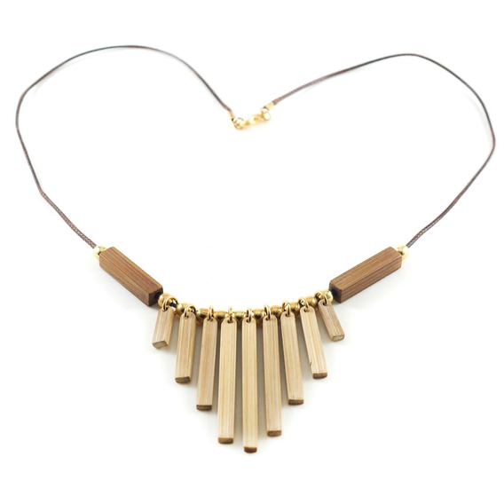 Mademoiselle - Colar Artesanal Em Bambu E Ouro - Biojoia