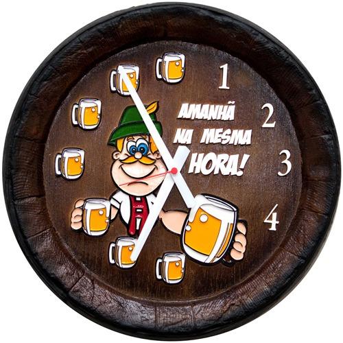 Relógio Barril Decorativo Grande - Mesma Hora