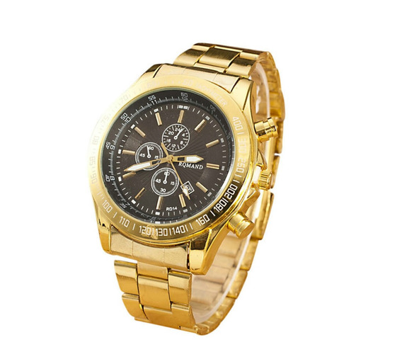Relógio Masculino Dourado Luxuoso Inoxidável Barato Com Data