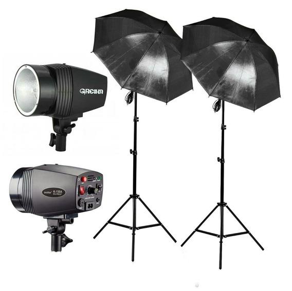 Iluminação Estúdio Flash Godox K150 Tripé E Sombrinha 220v