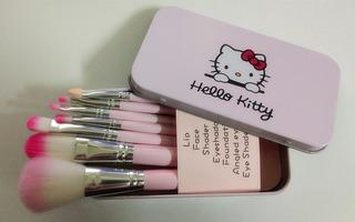5 Sets Brocha Maquillaje Hello Kitty Mayoreo! Rosa Y Negro